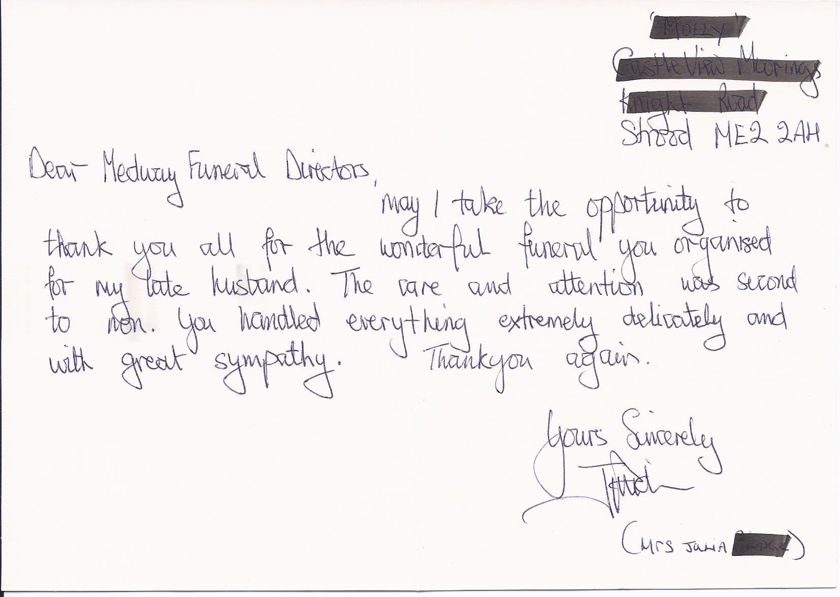 Testimonials Medway Funeral Directors